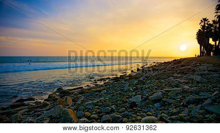 Orange Rocks on Sunset Beach