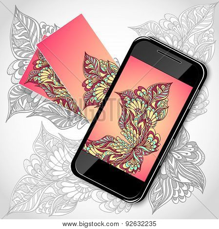 Mobile telephone with flowers screen visit cards in pink yellow
