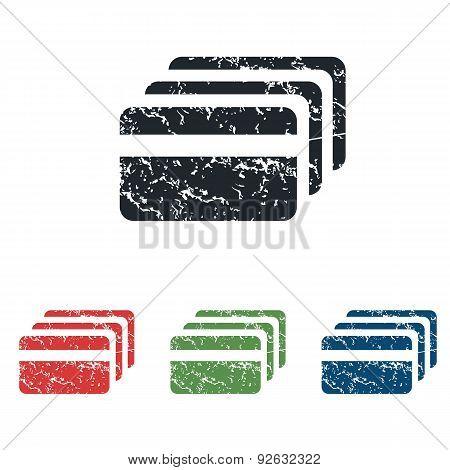 Credit card grunge icon set
