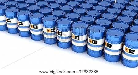 Blue Barrels With Oil On White Background