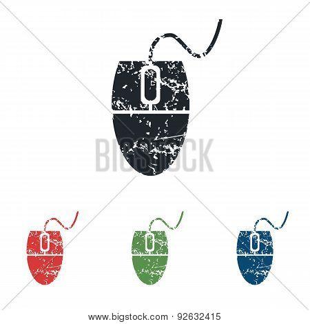 Computer mouse grunge icon set