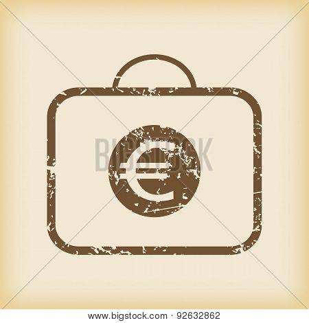 Grungy euro bag icon