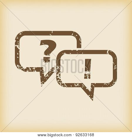 Grungy question answer icon