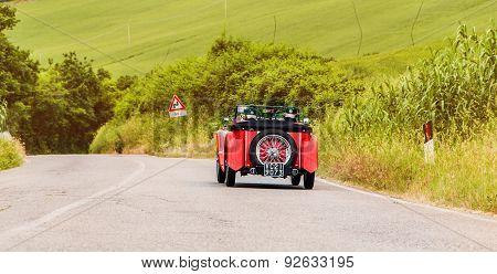 old car Landscape mg red  mille miglia 2015