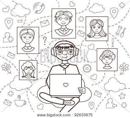 social network (vector illustration, coloring book)