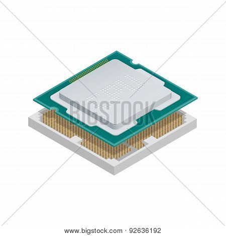 Processor Isometric Detailed Icon