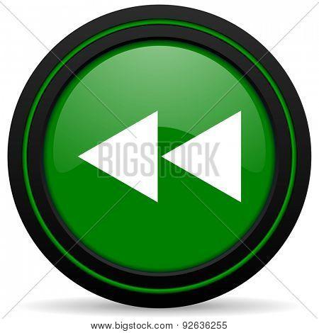 rewind green icon