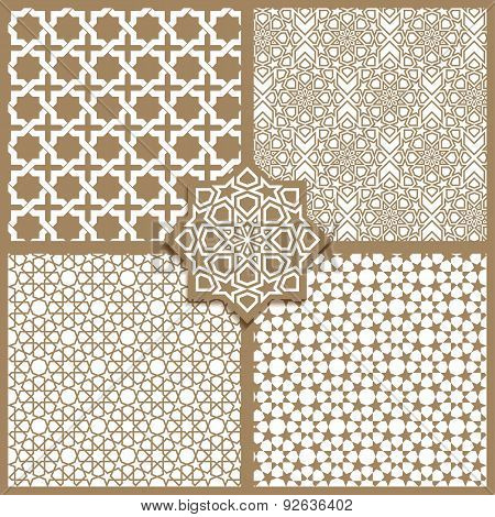 Seamless Islamic Patterns Set In Beige