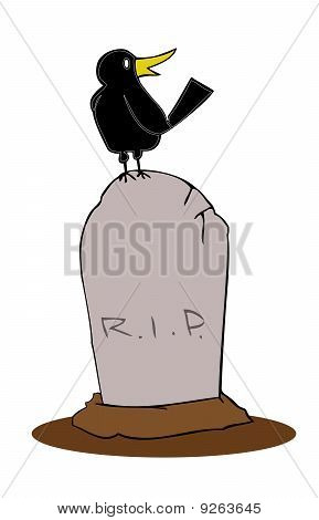 Tombstone with crow.