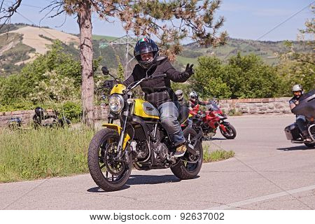 Biker Riding Italian Motorbike Ducati Scrambler
