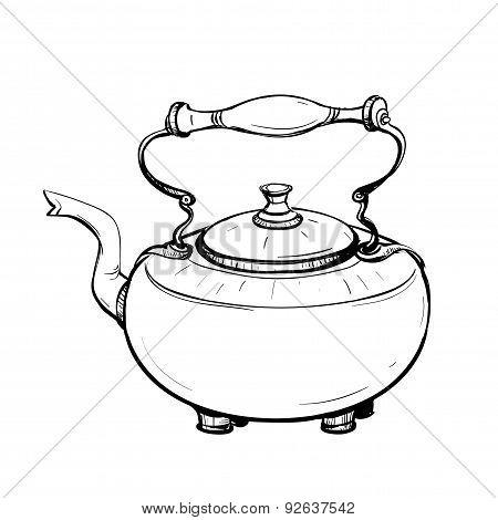 Black And White Sketch Of Stylized Retro Metal Teapot