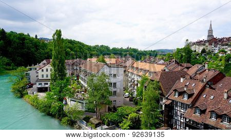 Scene Of Old Town City And River