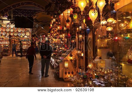 ISTANBUL, TURKEY - MAY 13 2015 : Visitors browse the stalls of the Grand Bazaar.
