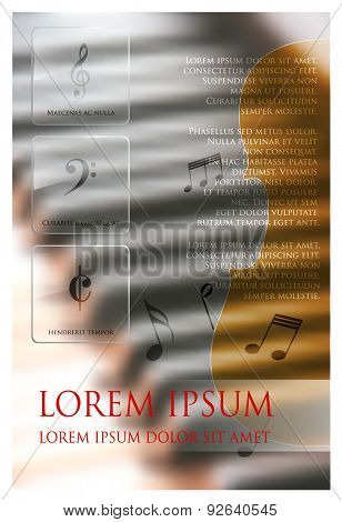 Music concept vector web and mobile interface graphic template. Flat web and print design. Multifunctional media background. Editable. Options, Icon, Banner