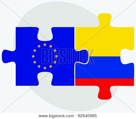 European Union And Ecuador Flags In Puzzle