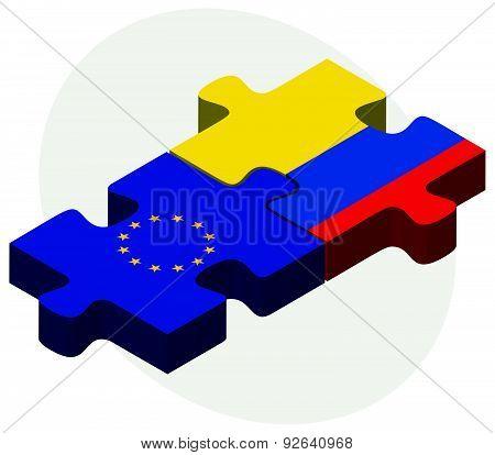 European Union And Ecuador Flags In Puzzle
