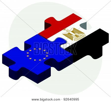 European Union And Egypt Flags In Puzzle