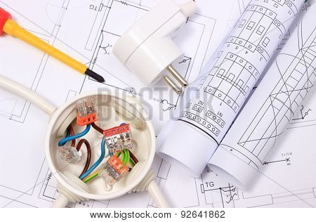 Electrical Box, Electric Plug And Diagrams On Construction Drawing