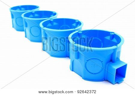Blue Electrical Boxes On White Background