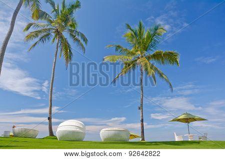 Beach Umbrella And Sunbath Seats