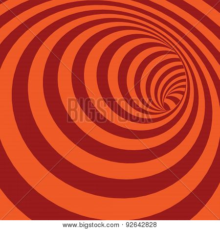 Orange Spiral Striped Abstract Tunnel Background