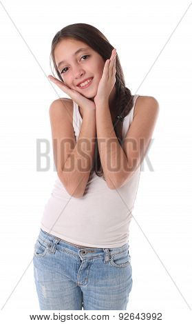 Lovely young girl with her hands near the head