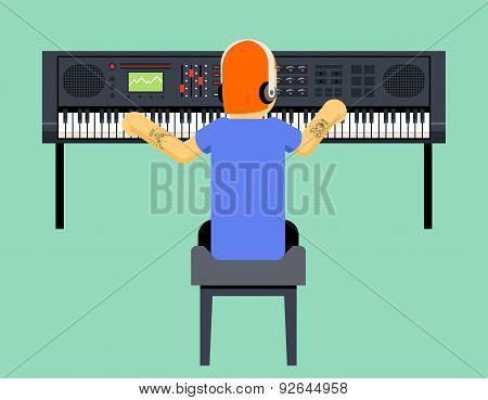 Musician Synthesizer Geek Hipster Music Player Back Concept Character Icon Flat Design on Stylish Ba