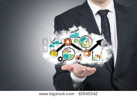 A Businessman Is Holding A Cloud With The Business Flowchart On The Open Palm. Grey Background.