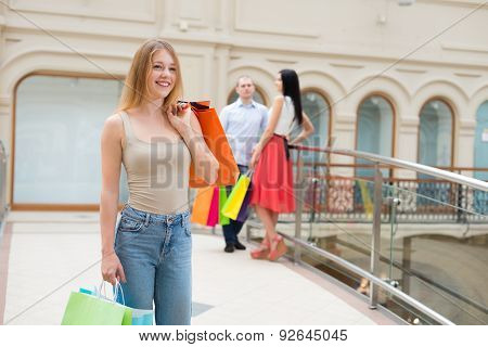 Young People With A Lot Of Bags From The Fancy Shops. Shopping, Sale, Gifts And Holidays Concepts. H