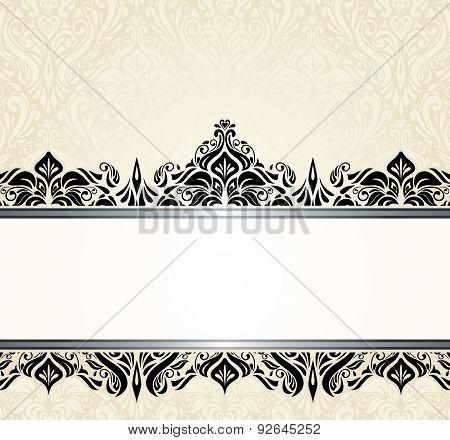Ecru pale and black vintage invitation design