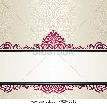 Wedding vintage Ecru invitation design