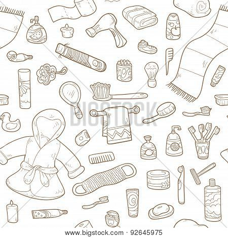 Seamless Pattern Of Vector Cartoon Bathroom Elements And Personal Hygiene Items