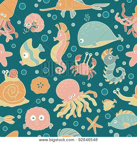 Seamless Vector Pattern Of Sea Life
