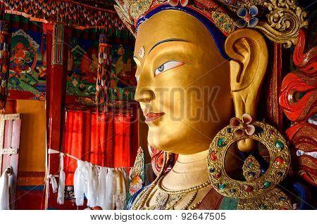 Sculpture Of Maitreya Buddha At Thiksey Monastery
