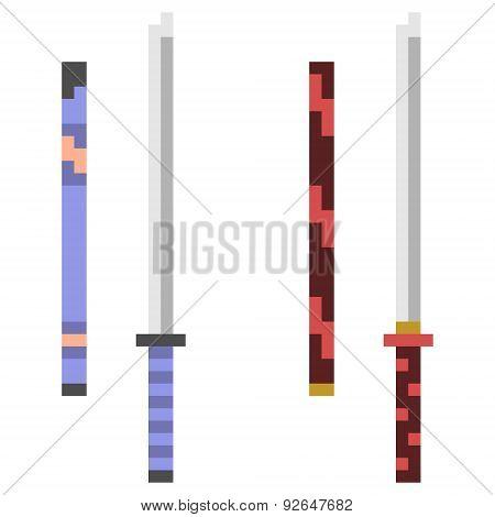 illustration pixel art icon katana