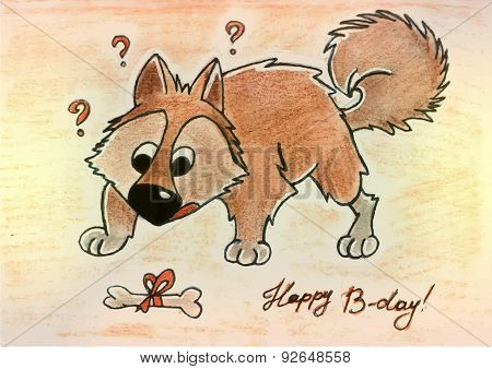 Cartoon Dog With Bone Vector Illustration