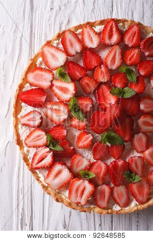 Delicious Tart With Fresh Strawberries Closeup Vertical Top View
