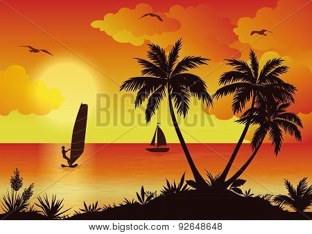 Tropical Sea Landscape with Palms and Surfer
