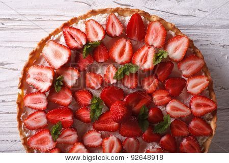 Delicious Strawberry Tart Macro On The Table. Horizontal Top View