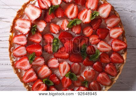 Delicious Strawberry Tart Closeup On The Table. Horizontal Top View