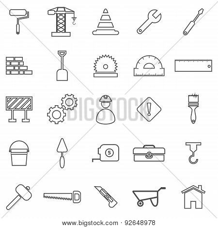Construction Line Icons On White Background