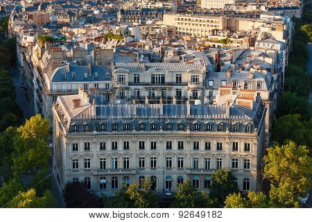 Haussmanian Building With Curvilinear Facade And Paris Rooftops, France