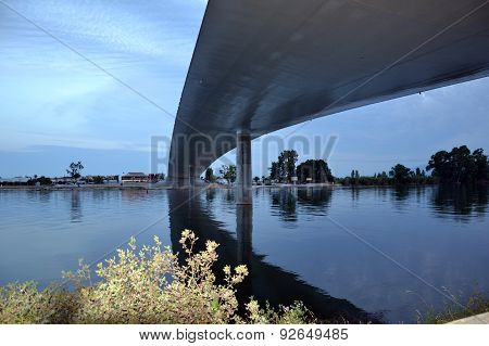 Bridge Across River Ebro At Night