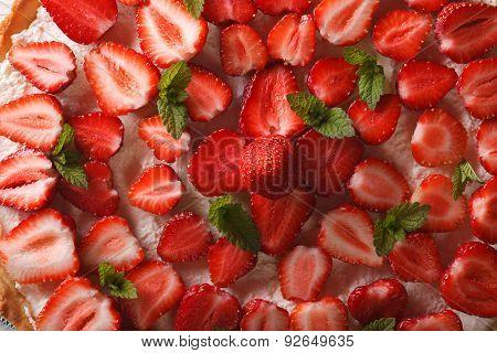 Strawberry Tart Macro. Horizontal Top View Background