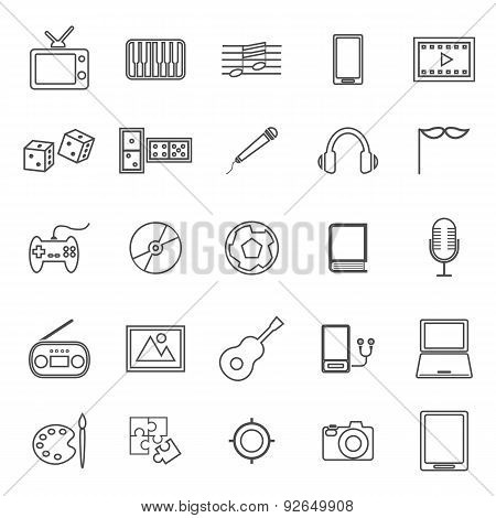 Entertainment Line Icons On White Background