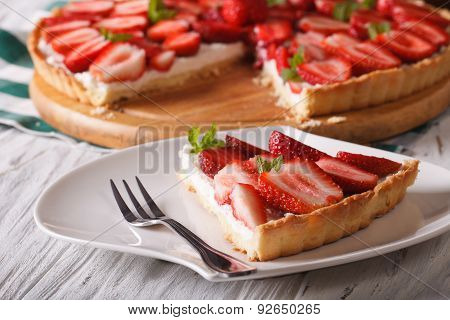 Piece Of Strawberry Tart With Cream Cheese Close-up. Horizontal