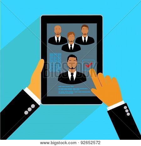 Vector, concept, human, resources, management, resume, flat, tablet
