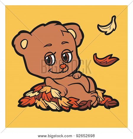 Color vector character (bear and autumn leaf fall)