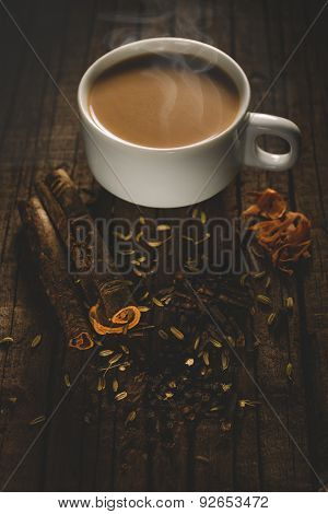 Masala tea with spices.National indian traditional beverage with tea,
