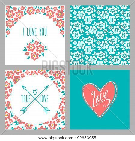 Set of Flower wedding invitation cards and 4 patterns, greeting, true love, i love you sign. Folk st